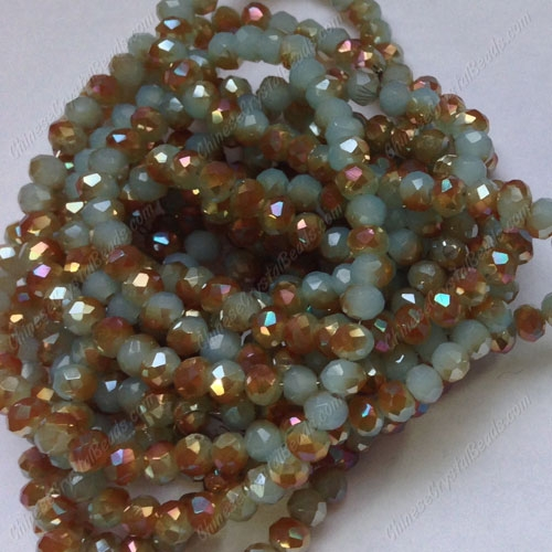 Chinese Crystal Long Rondelle Strand, 3x4mm, aqua jade and brown light, about 150 beads