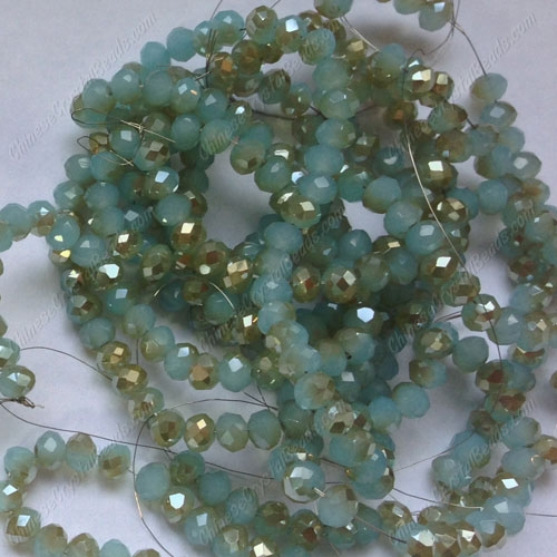Chinese Crystal Long Rondelle Strand, 3x4mm, aqua jade and champange, about 150 beads