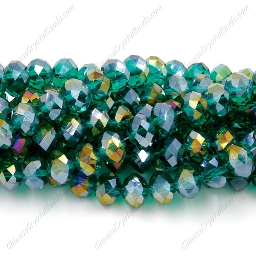 Chinese Crystal Rondelle Bead Strand, Emerald AB, 6x8mm , about 72 beads