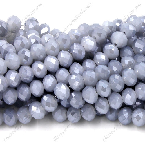 Chinese Crystal Rondelle Bead Strand, gray and blue jade, 6x8mm , about 72 beads