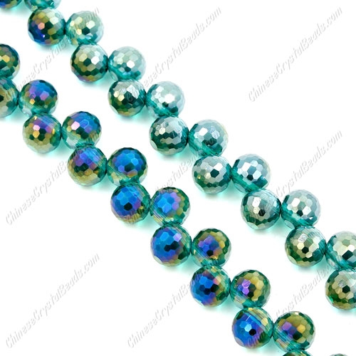 20Pcs chinese crystal round drop beads, 8mm, hole:1.5mm, Emerald AB