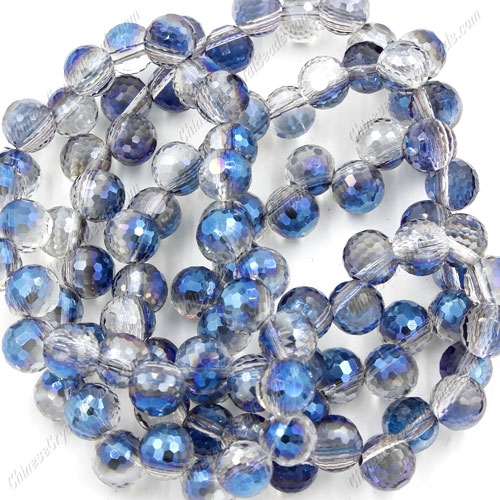 20Pcs chinese crystal round drop beads, 8mm, hole:1.5mm, half blue light