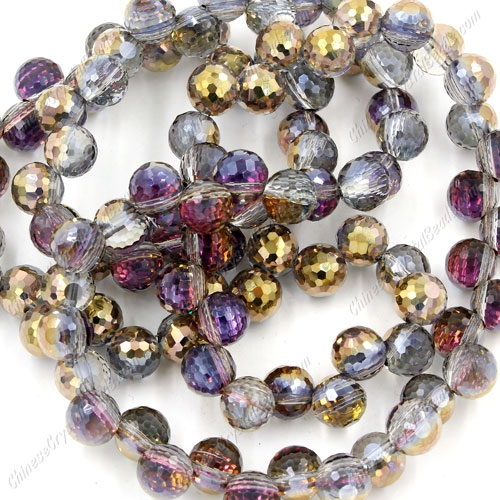 20Pcs chinese crystal round drop beads, 8mm, hole:1.5mm, gold and purple