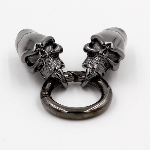 Clasp, Skull End Cap, gunmetal, 77x24mm, Hole:6.5mm, 1 set