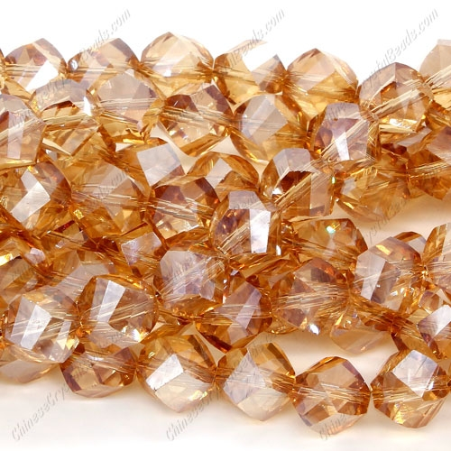 Chinese Crystal Helix Strand, 10mm, golden-shadow, 20 beads