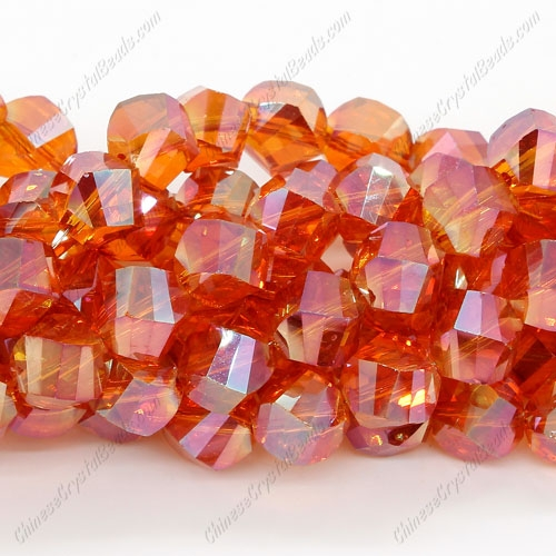 Chinese Crystal Helix Strand, 10mm, orange light, 20 beads