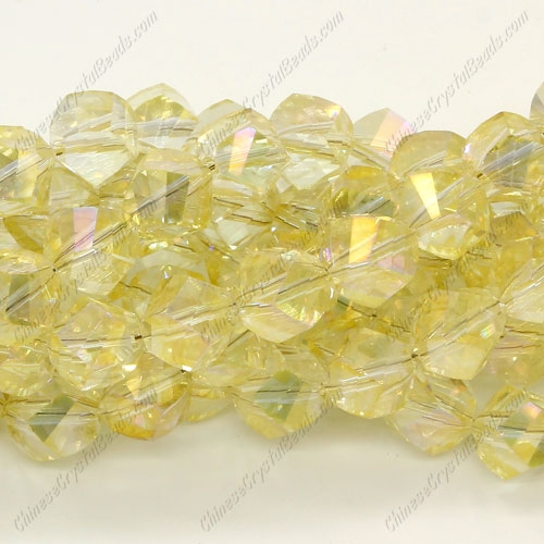 Chinese Crystal Helix Strand, 10mm, yellow light, 20 beads