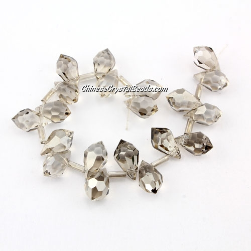 Chinese Crystal Briolette Bead Strand, silver shade, 6x10mm, 20 beads