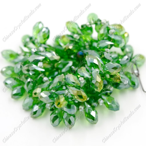 Chinese Crystal Briolette Bead Strand, fern green AB, 6x12mm, 20 beads