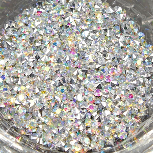 AAA Resin Rhinestone, silver AB, size: 3mm, sold per pkg of 12 gram