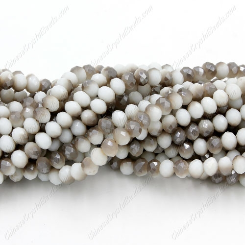 Chinese Crystal Long Rondelle Strand, 3x4mm, opaque half gray and white , about 150 beads