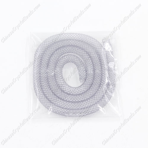 DIY Mesh Bracelet soft nylon fishnet tube, gray, width:4mm, 40cm