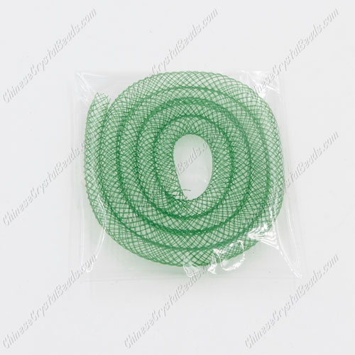DIY Mesh Bracelet soft nylon fishnet tube, green, width:4mm, 40cm