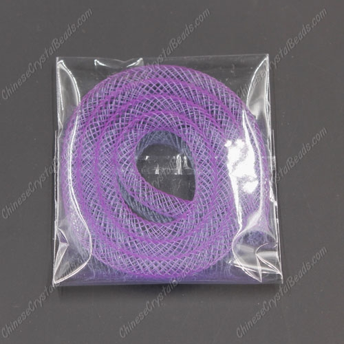 DIY Mesh Bracelet soft nylon fishnet tube, purple, width:4mm, 40cm