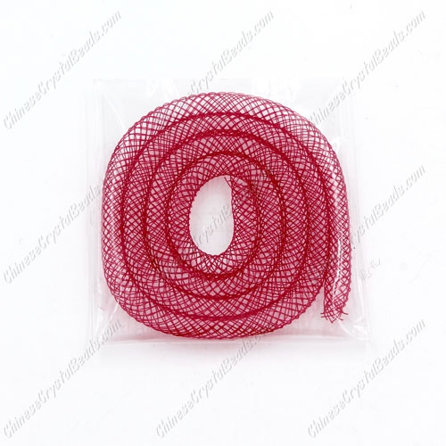 DIY Mesh Bracelet soft nylon fishnet tube, ruby, width:4mm, 40cm