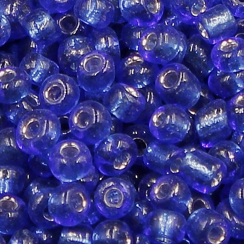 Glass Seed Beads, Round, silver-lined, about 2mm, #10, sapphire, Sold By 30 gram per bag