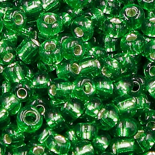 Glass Seed Beads, Round, silver-lined, about 2mm, #24, fern green, Sold By 30 gram per bag