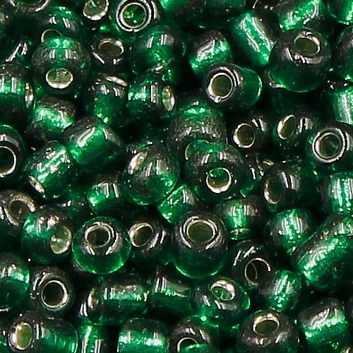Glass Seed Beads, Round, silver-lined, about 2mm, #28, emerald, Sold By 30 gram per bag
