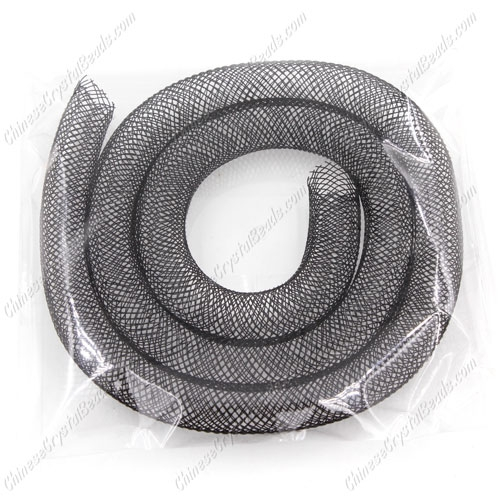 DIY Mesh Bracelet soft nylon fishnet tube, black, width:8mm, 40cm