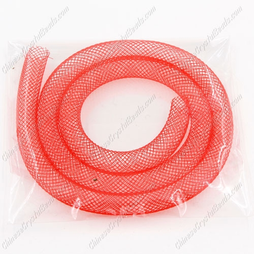 DIY Mesh Bracelet soft nylon fishnet tube, red, width:8mm, 40cm