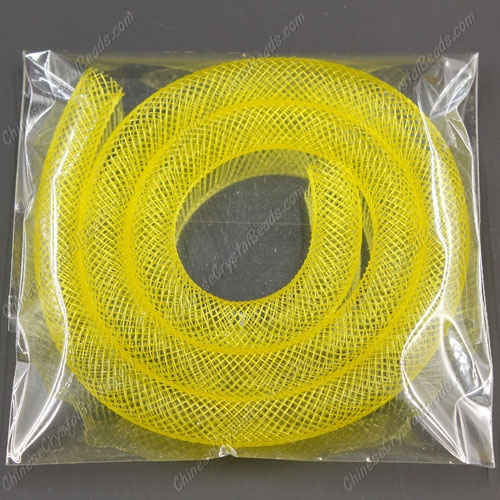 DIY Mesh Bracelet soft nylon fishnet tube, yellow, width:8mm, 40CM