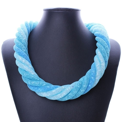 Stardust Mesh Necklace, 6 line helix necklace, aqua, length: about 57CM