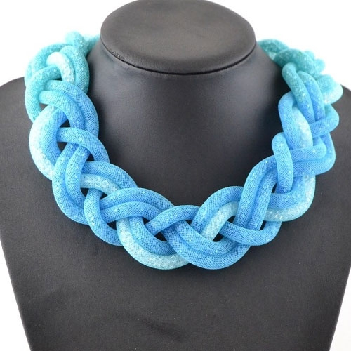 Stardust Mesh Necklace, Weave necklace, aqua color, length: about 57CM