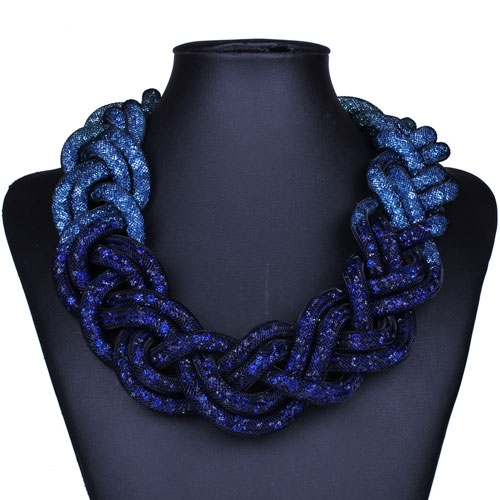 Stardust Mesh Necklace, Weave necklace, blue Gradual change, length: about 57CM
