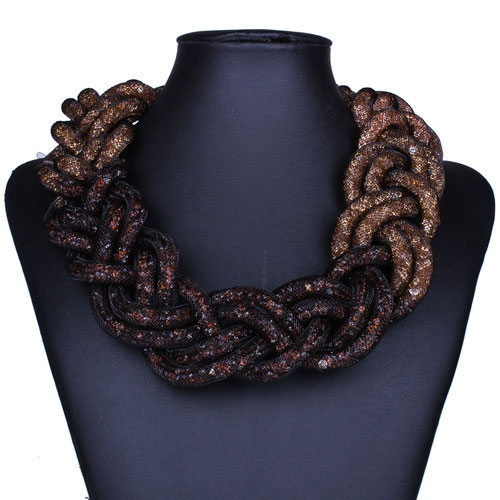 Stardust Mesh Necklace, Weave necklace, brown Gradual change, length: about 57CM