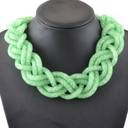 Stardust Mesh Necklace, Weave necklace, green color, length: about 57CM