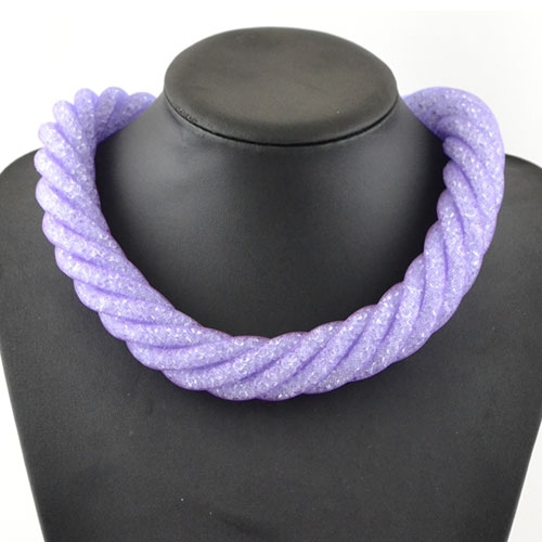 Stardust Mesh Necklace, 6 line helix necklace, purple mesh and clear Rhinestone , length: about 57CM
