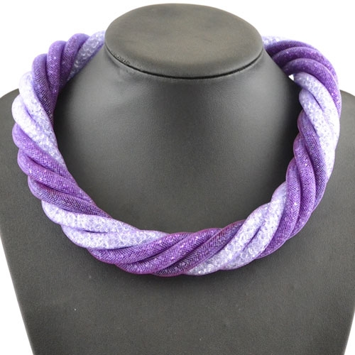 Stardust Mesh Necklace, 6 line helix necklace, mix purple #2 , length: about 57CM