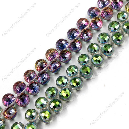 20pcs Crystal round drop beads, green and purple light, hole: 1mm