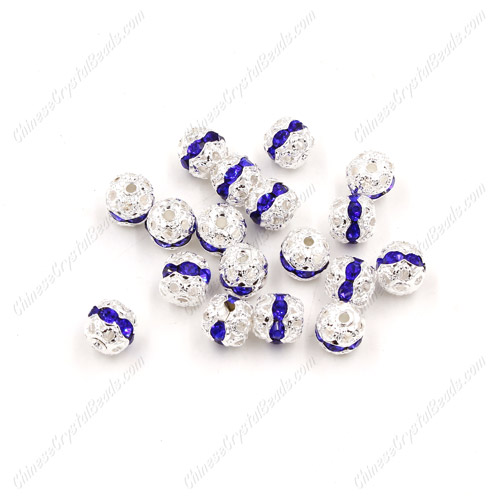 50 pcs 6mm blue Rhinestone round ball bead,spacer bead,crystal bead,copper,metal, hole:1mm