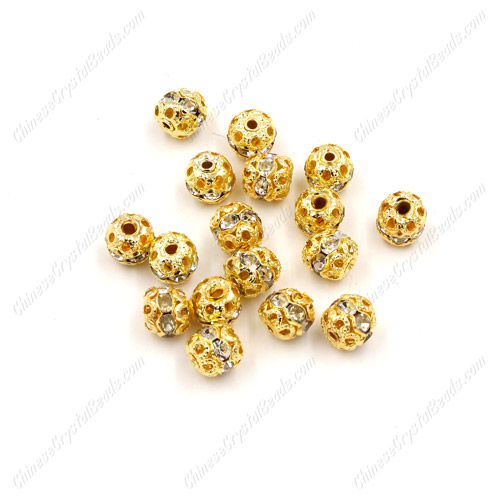 50 pcs 6mm Rhinestone round ball bead, gold spacer bead,crystal bead,copper,metal, hole:1mm