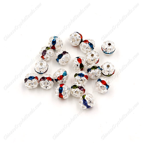 50 pcs 6mm mixed Rhinestone round ball bead,spacer bead,crystal bead,copper,metal, hole:1mm