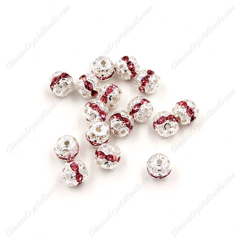 50 pcs 6mm pink Rhinestone round ball bead,spacer bead,crystal bead,copper,metal, hole:1mm