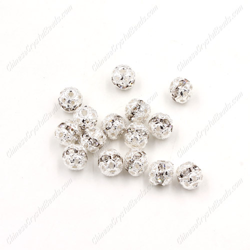50 pcs 6mm Rhinestone round ball bead, silver spacer bead,crystal bead,copper,metal, hole:1mm