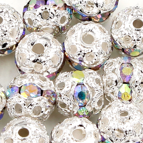 50 pcs 6mm crystal AB Rhinestone round ball bead,spacer bead,crystal bead,copper,metal, hole:1mm
