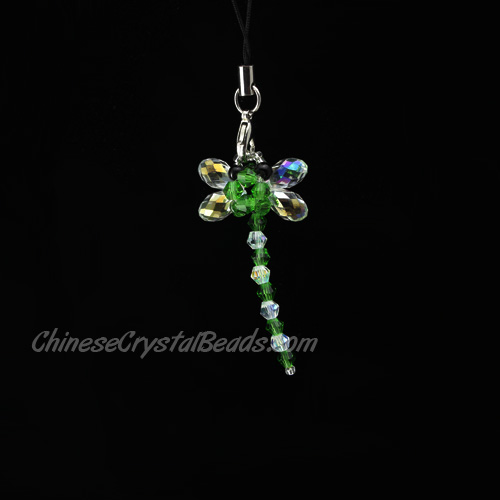 Crystal 3D Beading crystal animals Green Dragonfly 50x25x13mm