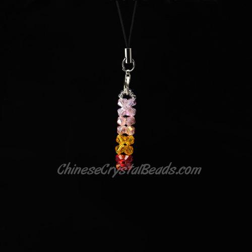 Crystal 3D Beading Lucky pillar (light pink/pink/yellow/red) 38x8x8mm