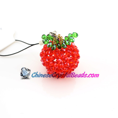 Crystal 3D-Beading Red Apple 34x28x28mm