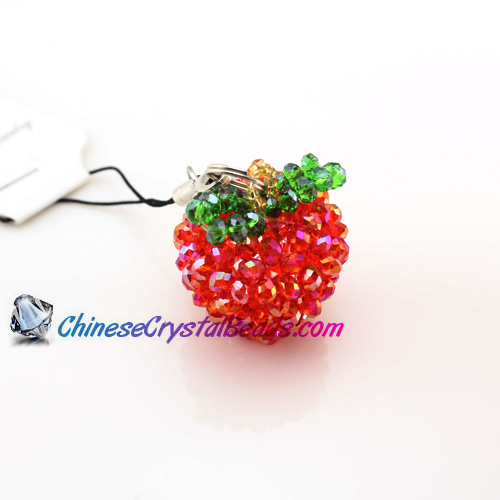 Crystal 3D Beading Red(AB) Apple 34x28x28mm
