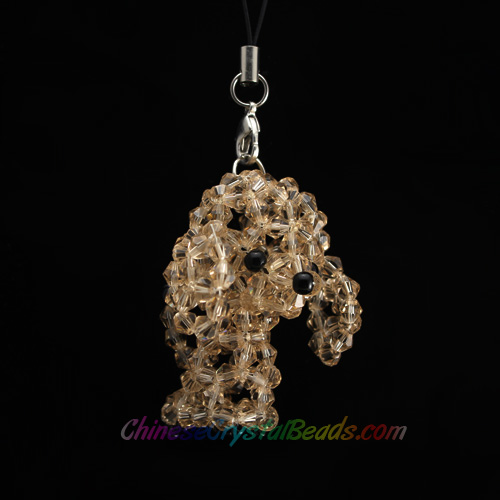 Crystal 3D Beading (Charm Kit) crystal animals Dog poodle Champagne, 48x40x32mm