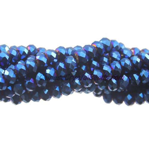 Chinese Crystal Long Rondelle Strand, Blue light, 3x4mm, about 150 Beads