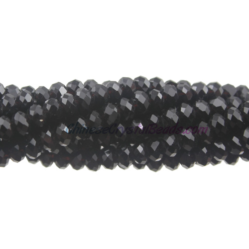 Chinese Crystal Long Rondelle Strand, black, 3x4mm, about 150 Beads