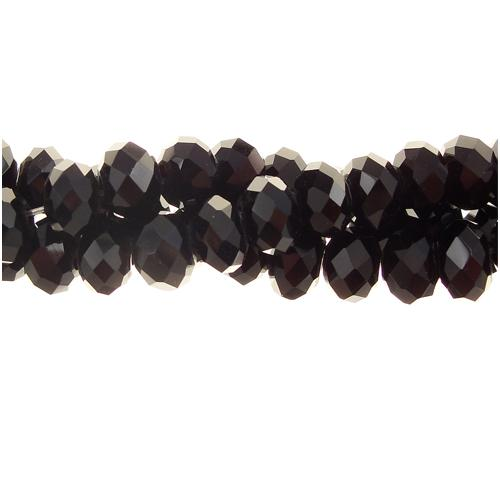 Crystal Rondelle Bead Strand, Black, 4x6mm , about 100 beads