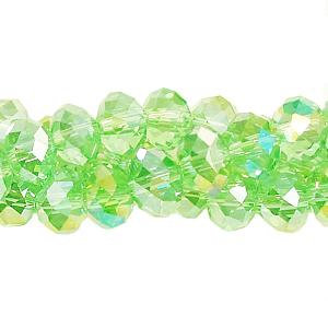 Chinese Crystal Rondelle Bead Strand, lime green AB, 10x14mm ,20 beads