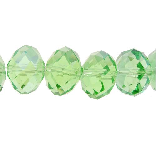 Chinese Crystal Rondelle Bead Strand, lime green, 12x16mm ,10 beads