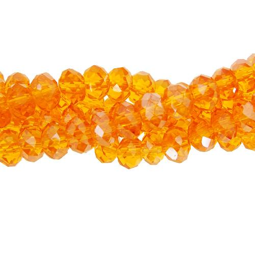 Chinese Crystal Long Rondelle Strand, 4x6mm, Orange , about 100 beads